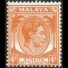MALAYA Straits Settlements 1937-41 4c Orange. Die II. SG 296. MLH. (AX305)