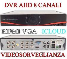 DVR 8 CANALI AHD HDMI VGA ICLOUD DIGITAL VIDEO RECORDER H.264 VIDEOSORVEGLIANZA