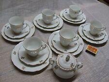 Kaffeeservice für 6 Personen mit Zuckerdose Gold Rand Blumen NE/D/EN