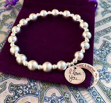 LOVE YOU TO THE MOON & BACK -CHUNKY STERLING SILVER 925 STRETCH CHARM BRACELET