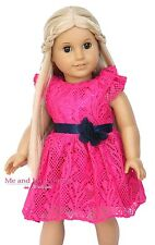 Hot Pink Summer Girl Lace Dress Outfit Clothes for 18 inch American Doll