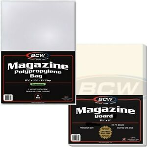 "5 Magazine Bags Boards BCW Combo Resealable Sleeves Archival Archive 8.5"" x 11"""