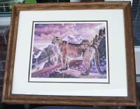 PAUL LARRABEE 1989 COUGAR'S KINGDOM LITHOGRAPH HAND SIGNED MATTED FRAMED LTD ED