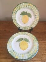 "SET OF 4 World Market LEMON PATTERN 8"" Luncheon Salad Plates; Italy; EUC!"