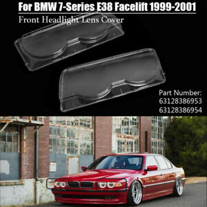 Pair Front Headlight Lens Cover For BMW 7 Series E38 Facelift 99-01  63128386954