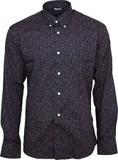 Relco Mens Navy Floral Long Sleeved Button Down Vintage Shirt Mod Retro