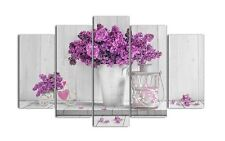 Quadro moderno su tela Shabby Chic su 5 pannelli vaso con fiori   150 x 100 cm