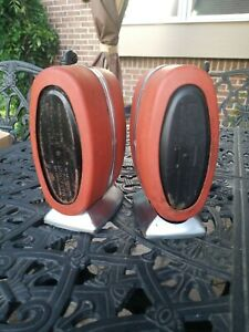 2 Rare Oval Vtg Art Deco Marathon RUST Chrome Napkin Dispenser Restaurants/Diner