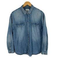 Zara Womens Denim Shirt Size Medium Blue Long Sleeve Snap Button Collared