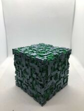PAINTED Star Trek Inspired PLA Borg Cube (Green with Pewter)