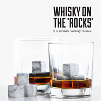 WHISKY STONES 9 PCS Reusable Granite Whiskey Stones Set Gift Cubes Rocks Glass