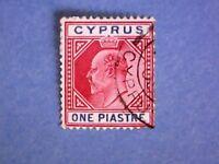 Cyprus. 1904 KEVII 1pi Carmine & Blue. SG64. Wmk Mult Crown CA. P14. Used.