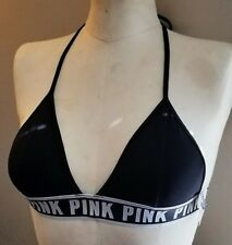 VICTORIA'S SECRET PINK TRIANGLE BIKINI SWIM TOP BLACK/WHITE PINK LOGO SIZE S