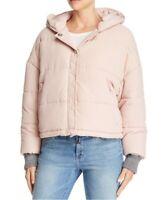 Splendid Women's Sz XS Hooded Cropped Puffer Jacket Boxy Dakota Pink