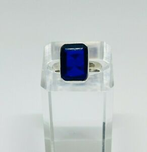 Gorgeous Sparkling Blue Sapphire Stone Ring 925 Silver Size R~R1/2 #16320