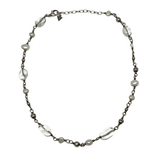 """Silpada Sterling Silver Glass Bead & Pearl Necklace N1602 18"""""""