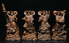 Chinese Myth Boxwood Carved 4 Great Heavenly Kings immortals God Statue Full Set