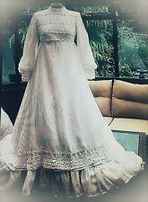 Robe empire Edwardien victorien blanche dentelle mariage costume vintage