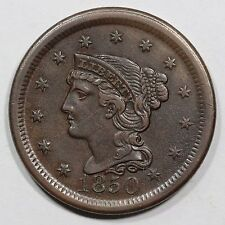 1850 N-19 (old N-16) R-2 LDS Braided Hair Large Cent Coin 1c