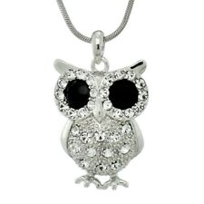 """Owl Black Clear W Swarovski Crystal Wise The Great Horned Owl 18"""" Chain Pendant"""