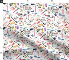 Makeup Watercolor Cosmetic Bathroom Decor Fabric Printed by Spoonflower Bty