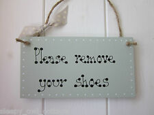 SHABBY PLEASE REMOVE YOUR SHOES SIGN PLAQUE Sage Green Paint Cottage Chic
