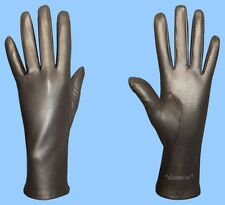 NEW WOMENS size 8 GENUINE GREY KID LEATHER SILK LINED DRESS GLOVES