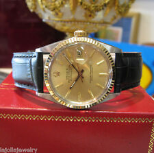 Mens ROLEX Oyster Perpetual Datejust 18K Gold Stainless Steel Gold Dial Watch