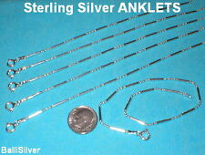 12 pieces Sterling Silver 925 Ball & Bar Anklets Wholesale Lot - Real Silver
