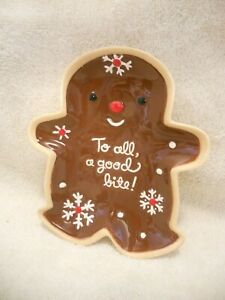 """Hallmark Gingerbread Man """"To All A Good Bite"""" Christmas Plate 8x6.75 inch Brown"""