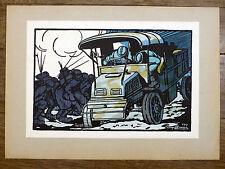 GEORGES BRUYER Gravure Couleur BOMBARDEMENT ww1 Première Guerre Mondiale