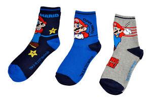 Super Mario 3er Pack Socken,Söckchen, Strümpfe Gr. 23-26, 27-30 oder 31-34, Neu