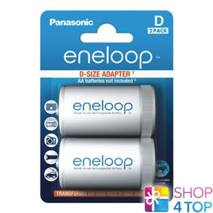 2 PANASONIC ENELOOP BATTERY ADAPTER AA R6 TO D R20 SIZE CONVERTER SPACER CASE