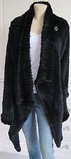 ROSENBERG & LENHART R&L black 100% RABBIT KNITTED waterfall wrap jacket - UK14