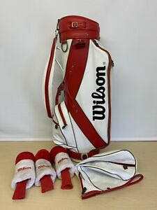 Vintage Wilson Staff Golf Cart Bag & Head Cover Set / Red & White Leather