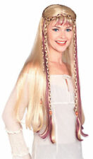 Blonde Medieval Maiden Princess Wig Celtic Long Braid Women Costume Accessory