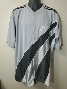 VTG Adidas warm up Full Snap Gray/Black Jersey Shirt 3 Stripes - Size XL - RETRO