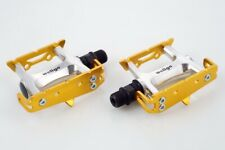 NEW Wellgo Bike Track Fixed Gear Road Pedals (Toe Clip & Strap Ready) - Gold