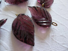 12 Purple Amethyst Leaf Charms Beads Leaves with Brass Loops 24mm X 14mm