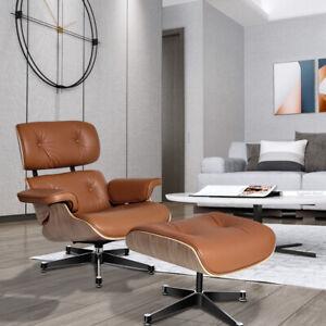 Klassischer EAMS Lounge Chair & Ottomane Echtes Leder Walnuss Wohnzimmer Sessel