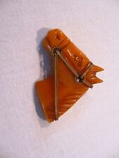 Vintage Bakelite Horse Head Butterscotch w/ Metal Bridle and Rein Pin Brooch