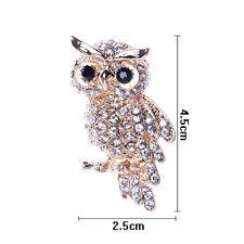 Fine Fashion Gold Plated Owl Shiny Crystal Lady Jewelry Rhinestone Brooches DSUK