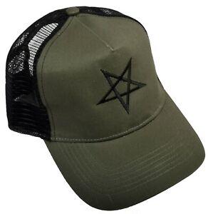 Inverted Pentagram Trucker Cap Embroidered Satanic Occult Church of Satan Gothic