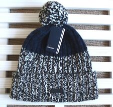 FRED PERRY Navy Black Melange Chunky WOOL BOBBLE Hat POMPOM Toque Beanie OSFA