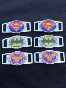 2 ~ Superman, Batman, or Wonder Woman shoelace charms/Paracord Charms. **USA**