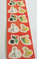 Vintage Sandylion Kromekote Sweet Bunny Rabbits Sticker Strip