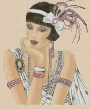 Cross stitch chart Art deco Lady 231 Flowerpower 37-uk
