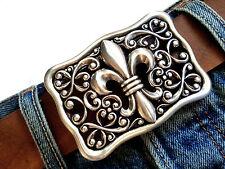 Gürtelschließe Lilie buckle Ornament Silber antik vintage Wechselschnalle 4cm