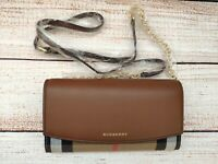 NIB Burberry House Check and Leather wallet with chain in TAN - 40482531