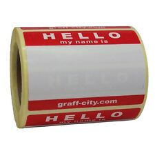 ROLL OF 250 GRAFF-CITY HELLO MY NAME IS STICKERS - RED / WHITE